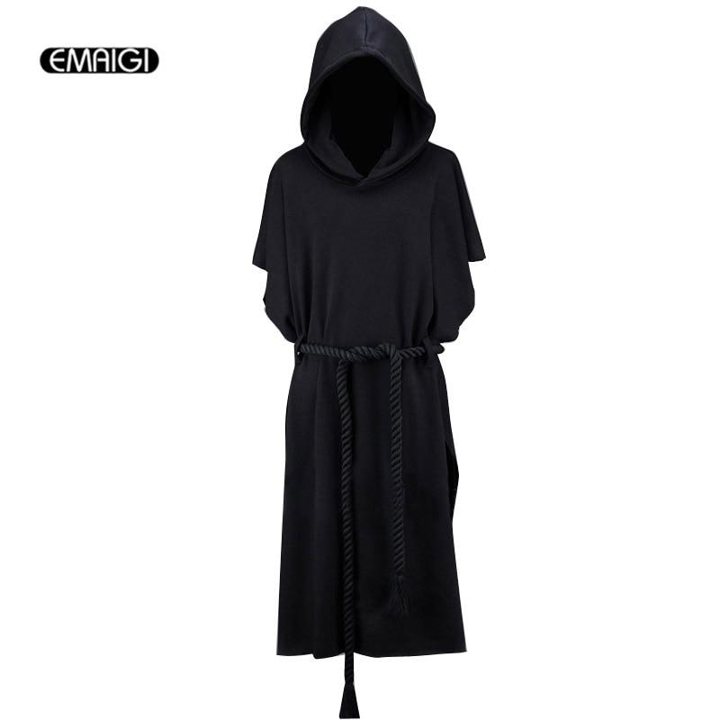 New Men Hooded Sweatshirt Coat Men Street Fashion Short Bat Sleeve Belt Loose Long font b