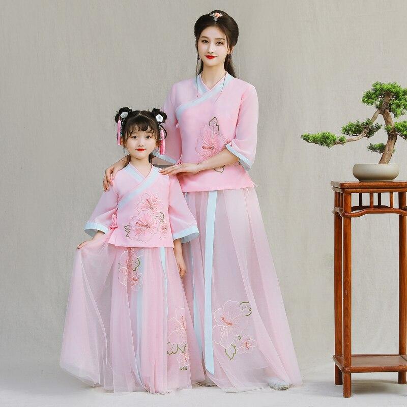 Vestidos Filha da mãe Vestido de Noiva Chinês Moda Desgin New Mommy and Me Roupas para a Família Roupas Combinando Vestidos de Rosa - 6