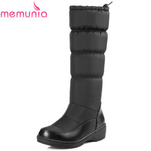 MEMUNIA 2016 high quality warm snow boots platform round toe soft leather knee high boots winter boots solid shoes