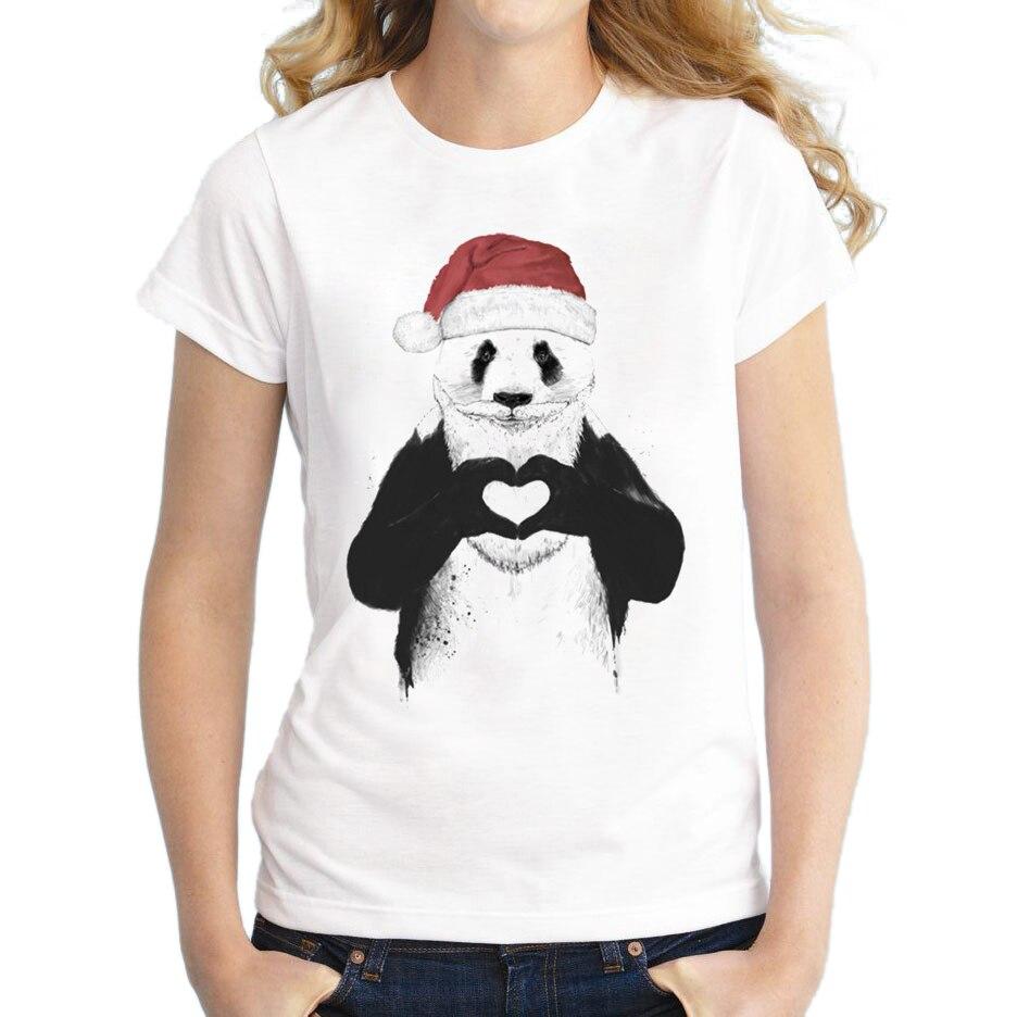 Hot sale Women Santa Panda T-Shirt Short Sleeve Casual Tops Novelty Santa Lion Printed Christmas T Shirts Newest Tee