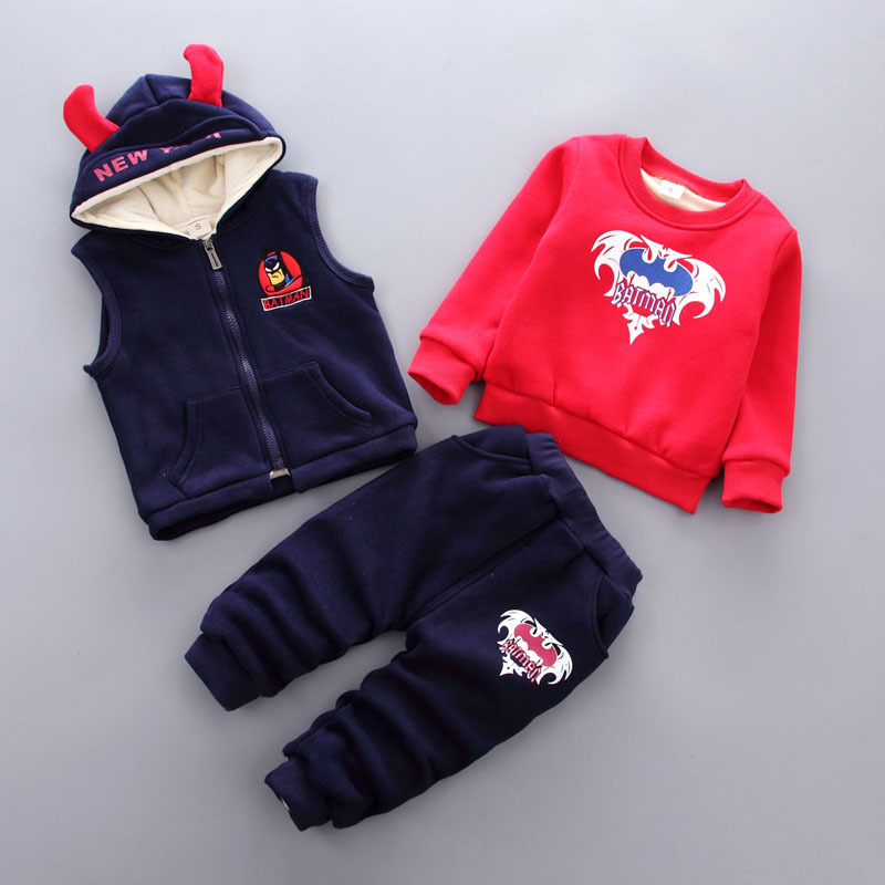 Baby Boy Clothing Sets 2018 Cartoon Pattern Autumn Winter Warm Toddler Vest + Shirt + Pants 1 2 3 Years Kid Clothing Suit baby girl boy clothing sets 2018 cartoon pattern autumn winter warm toddler vest shirt pants 1 2 3 4 years kid clothing suit