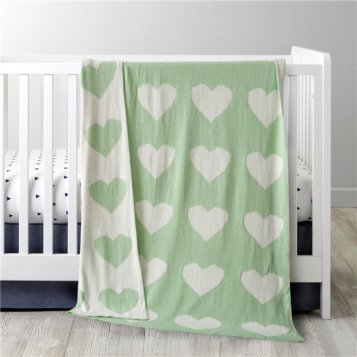 100% cotton Green Color Heart design Thread Blanket,size110x130 sofa blanket,crib Knitting Blanket,baby sleeping blanket bedding
