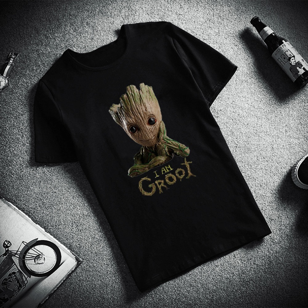 Mode T-Shirt à manches courtes jeune Groot Avengers Hero imprimé 100% haut en coton t-shirts décontracté col rond T-Shirt unisexe