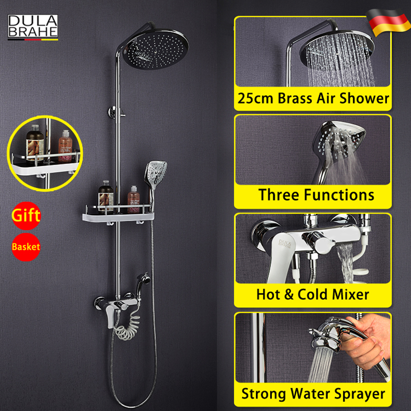 Bathroom Shower Faucet Set Hot And Cold Mixer Panel 10 Inch Air Water Saving Brass Chrome Rain Shower Head Back To Search Resultshome Improvement Shower Equipment