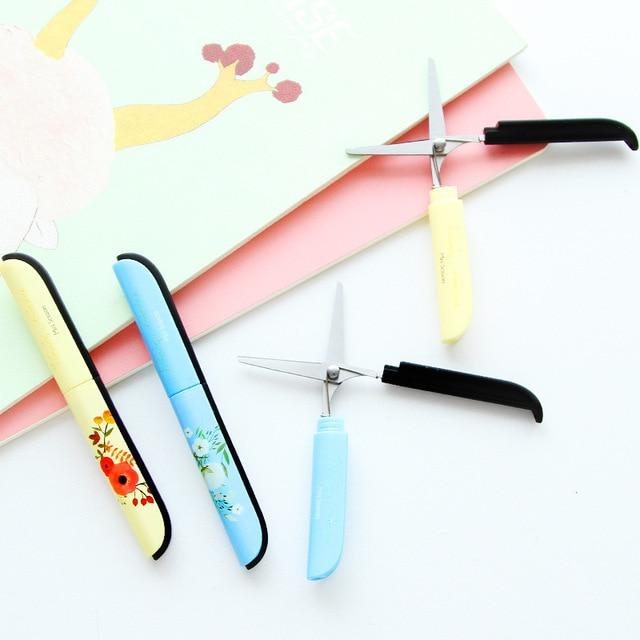 New Creative Flowers Pattern Portable Scissors Stationery Scissors Novelty Household Scissors