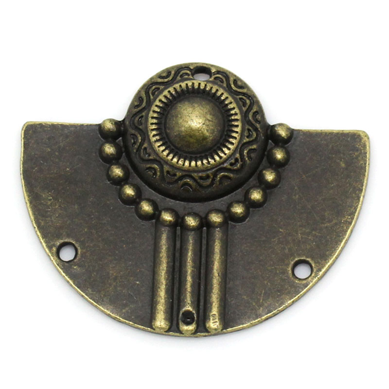 Zinc Metal Alloy Connectors Findings Half Round Antique Bronze Pattern Pattern Color Plated 3.7cm X 3cm ,2 PCs New
