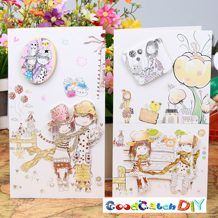 8 Sets Of Cartoon Girl Happy Birthday Card Paper CARDS Blessing Sweet Design Creative Greetings Christmas On Aliexpress