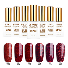 RS NAIL UV Gel Nail Polish for Art Manicure Red Glitter Lakiery Hybrydowe Vernis Semi Permanant LED Lak 15ml