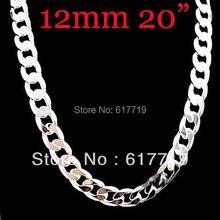 Sc-013 925 argent 12 mm hommes chaîne collier 20 polegada, Min ordre 10 usd, Usine prix