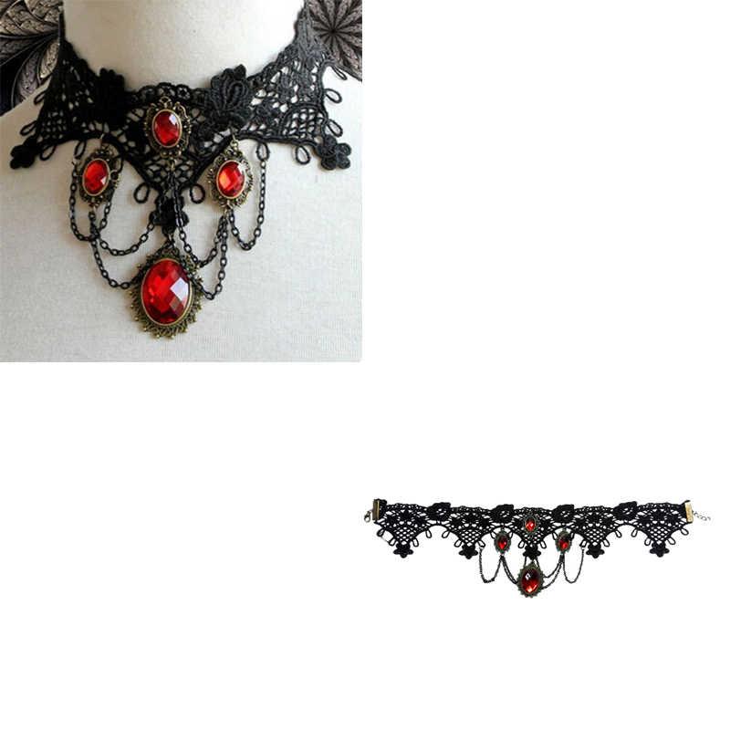 אופנה קוקטייל ערב המפלגה שמלת תכשיטים ויקטוריאני גותי ליל כל הקדושים אדום ריינסטון קסמי ערפד מקסי שרשרת קולר