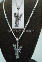 10PCS Hot Fashion Antique Silver Adorable Archangel Charm Amulet Pendants Link Chain Necklace DIY Jewelry Findings Z510