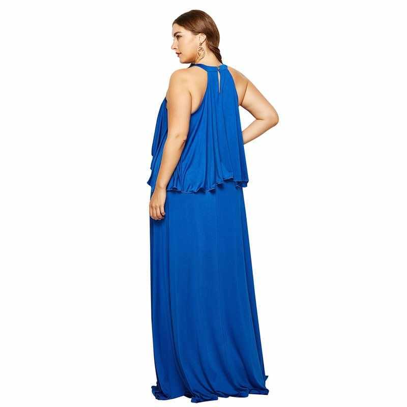 Сексуальное Платье макси с открытыми плечами для выпускного вечера женское платье с высокой талией Плюс Размер Черный Холтер вечерний халат с рюшами летние элегантные длинные платья 2019
