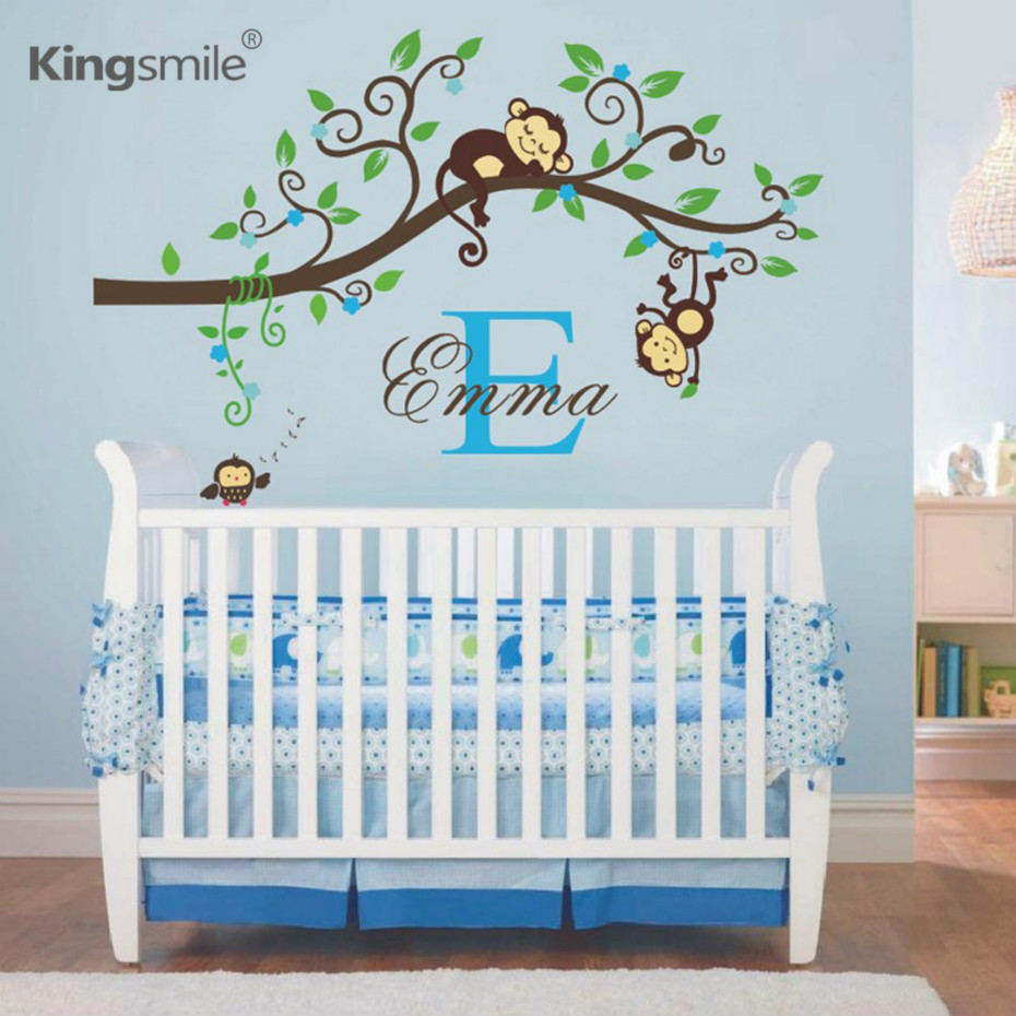 Monyet Jungle Monyet Pelekat Dinding Nama Peribadi Permulaan Cabang Tree Cawangan Art Decal Vinyl Wall Decor Girl and Boy Bedroom