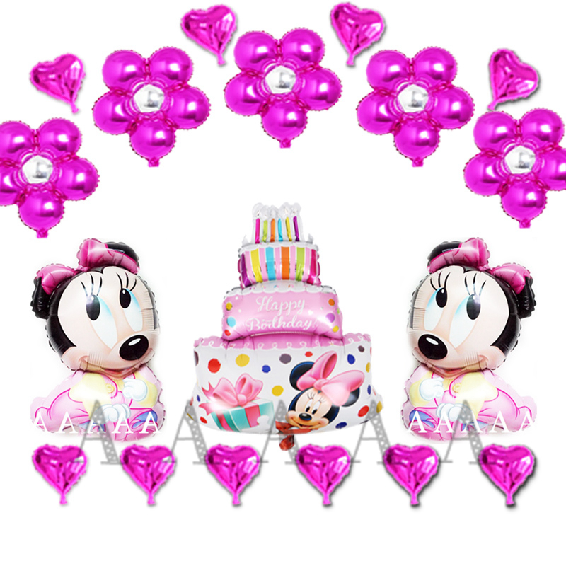 happy birthday balloons set including cake flower heart foil balloons cartoon minnie mickey mouse helium balloons 18pcs/lot