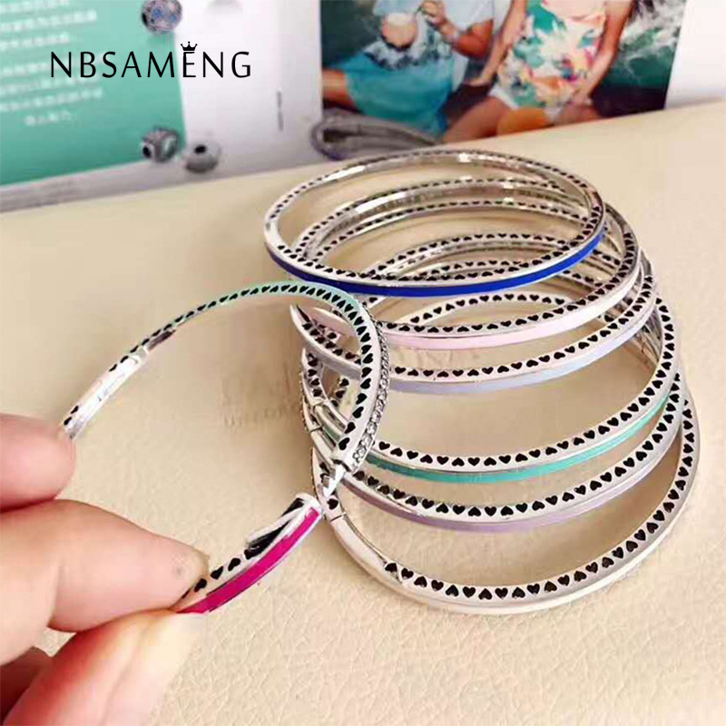 Authentic 925 Sterling Silver Original 7 Colors Radiant Hearts Of Bangle With Clear Cubic Zirconia Fit Pan Bracelet DIY Jewelry top quality bright mint enamel clear cz radiant hearts of pan bangle fit europe bracelet 925 sterling silver bead charm jewelry