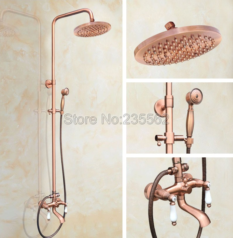 Modern Bathroom Wall Mounted Rain Shower Faucet Set Red Copper Finish Claw foot Bathtub Mixer Tap Dual Ceramic Handles lrg573 chrome finish dual handles thermostatic valve mixer tap wall mounted shower tap