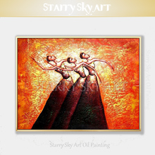 Fashion Wall Art Hand-painted High Quality Modern Abstract Canvas Dancer Oil Painting Thick Textured Figures