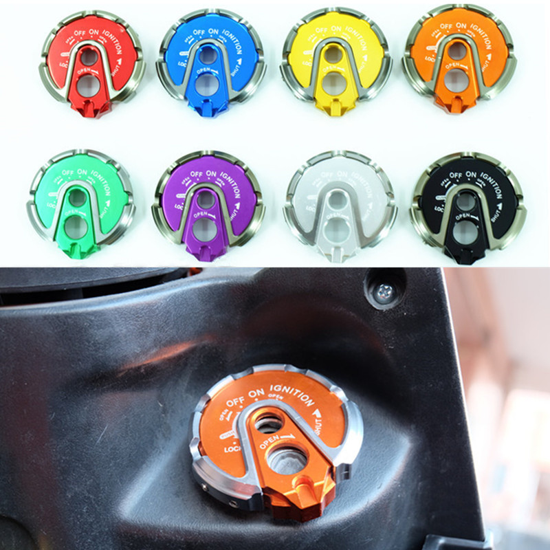 Universal CNC Aluminum 8 Color Motorcycle Ignition Key Lock Cap Cover Ignition Switch Protector Cover For Yamaha BWS125 Cygnus-X useful bicycle stem cnc aluminum bike headset cover cap 1 1 8 red
