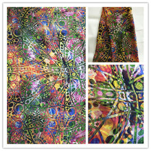 New Summer Print 100%Silk Chiffon Fabric For Women Dress 140cm Wide 6Momme Thin Georgette Fashion cloth DIY Sewing DSF27
