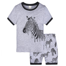 hot deal buy children clothing 2018 summer baby boys clothes cotton zebra t shirt + shorts children's sets 2-7y