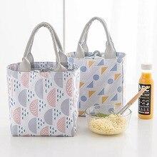 купить 15PCS / LOT Oxford Lunch Bag Thermal Insulated Cooler Pouch Lunch Waterproof Bag Geometric Pattern Portable Picnic Tote по цене 1366.12 рублей