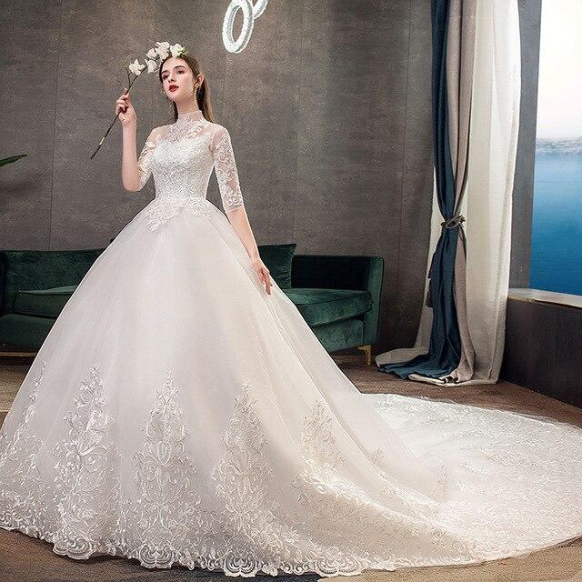 2019 חדש גבוה צוואר חצי שרוול שמלת כלה סקסי אשליה תחרה Applique פשוט Slim תפור לפי מידה כלה שמלת Robe דה Mariee L