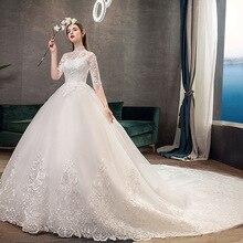 2019 جديد الرقبة عالية نصف كم فستان الزفاف مثير الوهم الدانتيل زين بسيط سليم مخصص فستان زفاف رداء دي ماري L