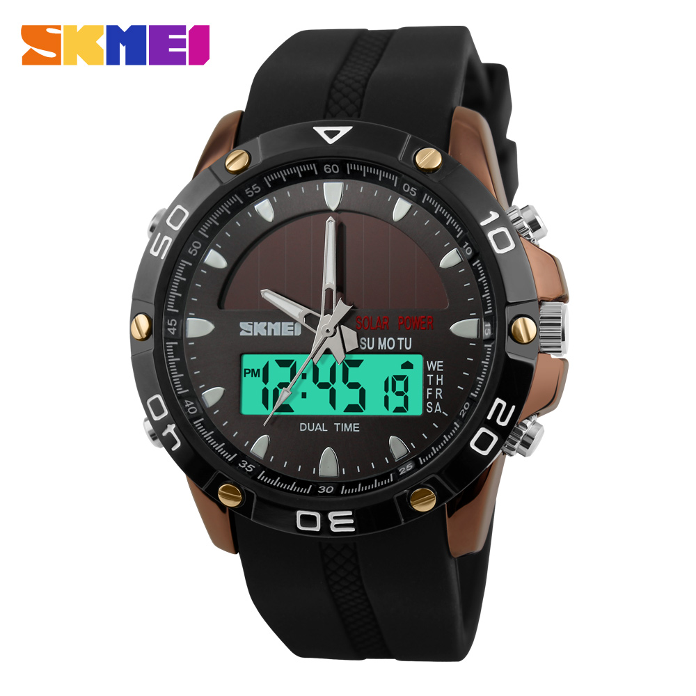 SKMEI Men Solar Dual Watches Fashion Digital Sport Watch Chronograph Alarm Waterproof Quartz Wristwatches Relogio Masculino 1064 new sports watches men skmei brand dual time zone led quartz watch men waterproof alarm chronograph digital wristwatches