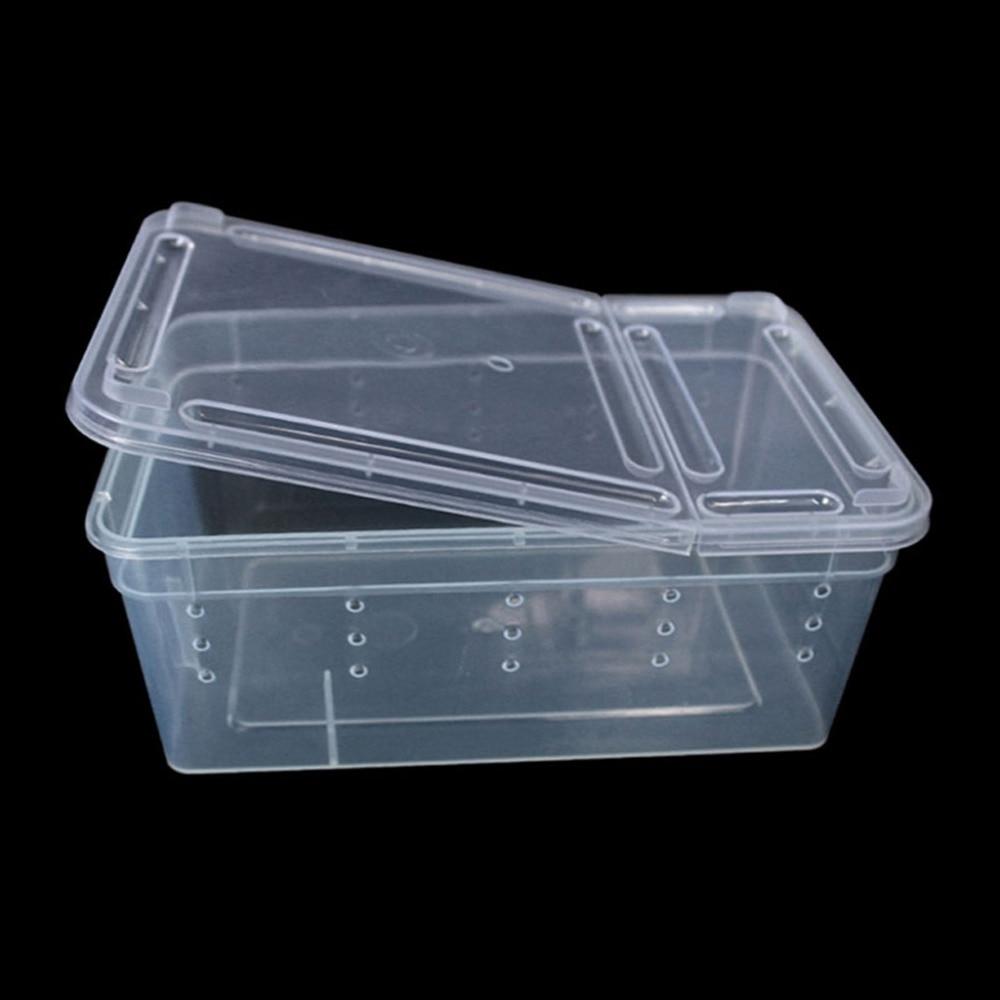 Terrarium for reptiles Transparent Plastic Box Insect Reptile Transport Breeding Live Fo ...
