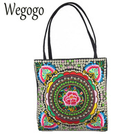 New Vintage Women National Bags Handmade Flower Embroideried Ethnic Cloth Shoulder Bag Woman Shopping Travel Tote