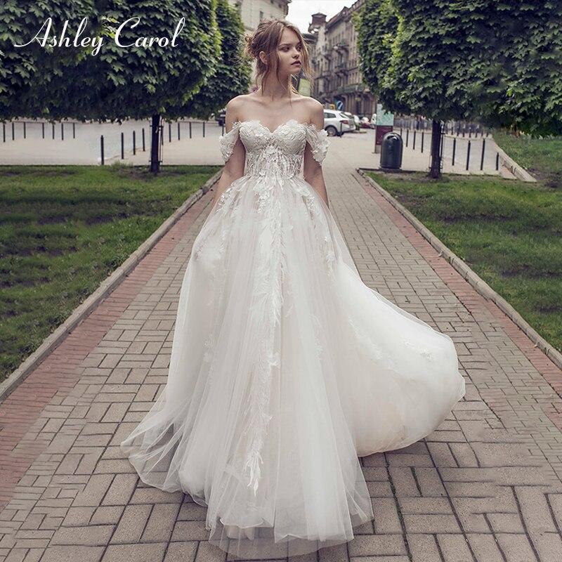 Ashley Carol Sexy Sweetheart Cap Sleeve Tulle Boho Wedding Dress 2019 Lace Up Simple Bridal Dress Princess Beach Wedding Gowns