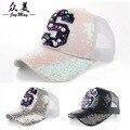 Dongdaemun auténtico hecho a mano de lujo perlas de lentejuelas S carta gorra de béisbol gorra de béisbol del visera B240