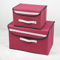2 pcs/set Two Size Clothes Covered Toys Storage Boxes Cosmetics Place Small Objects Snacks Sundries Book Clothes Finishing Box