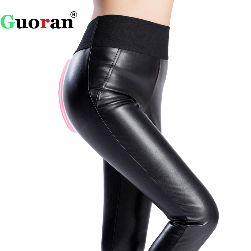 39ee513fb578e Elastic high waist women warm winter PU leather pants plus size 4XL black faux  Leather trousers Leggings Velvet Pencil Pants