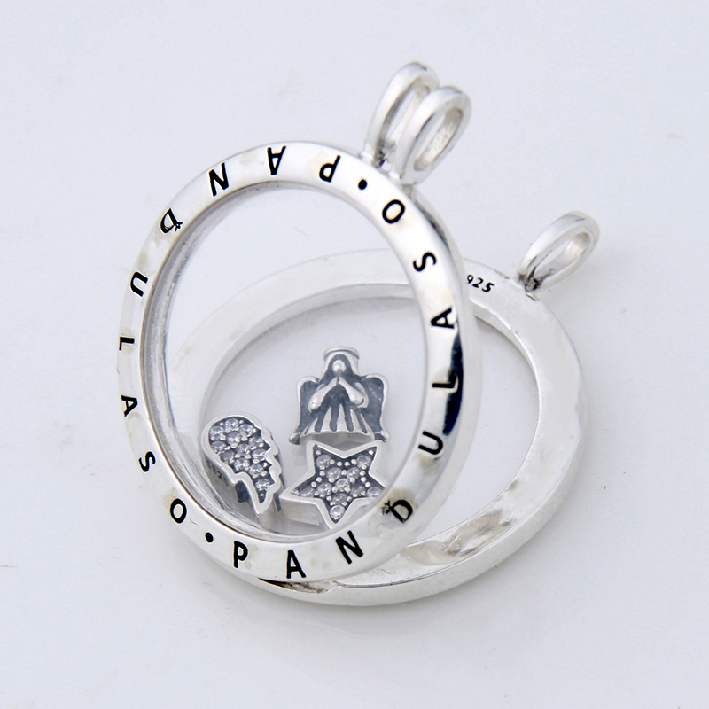 Pandulaso Prayer Angel Petites Large Floating Locket Necklace Pendant for women DIY necklace 925 sterling silver