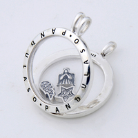 Pandulaso Prayer Angel Petites Large Floating Locket Necklace & Pendant for women DIY necklace 925 sterling silver jewelry chain