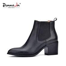 Донна в 2016 новый стиль кожа ботильоны острым носом толстый каблук упругие женские короткие сапоги большой размер женщин обувь