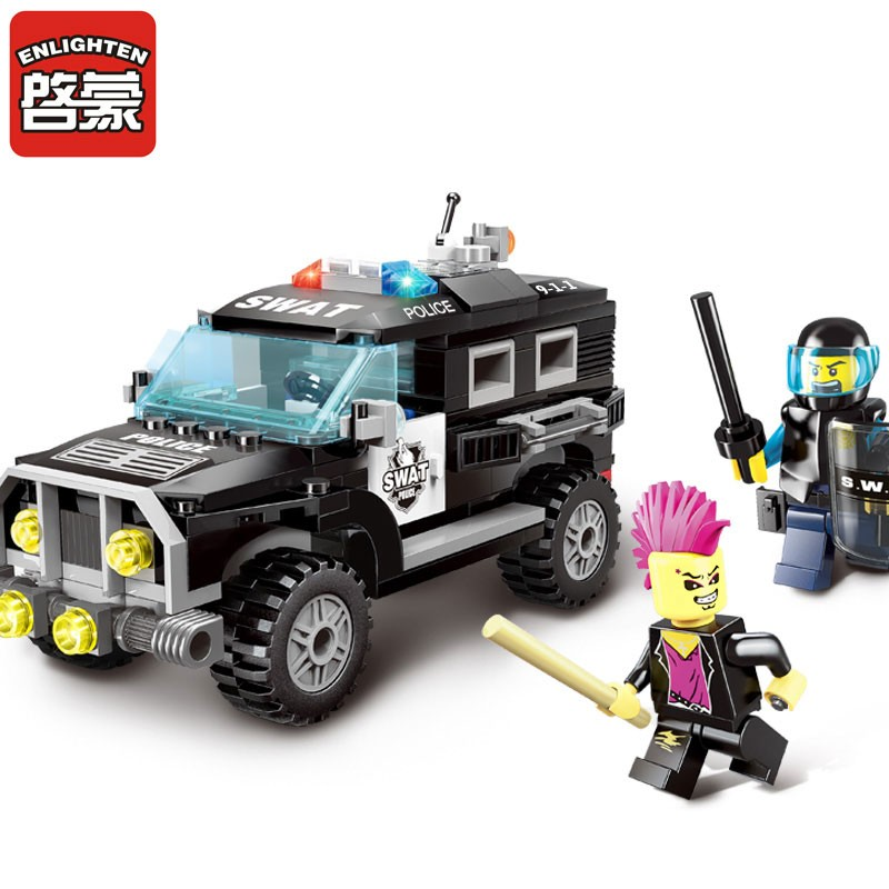 ENLIGHTEN 1109~1112 New City Series SWAT Police Ice Cream Cars Building Blocks Set Bricks Model Kids Child Toys Gift enlighten 1712 city swat series military fighter policeman figures building blocks bricks compatible with lepin kids toys