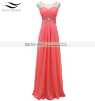 Real Photos Scoop Cheap Sparking Coral Crystal Beaded Prom Dress Long Evening Gown Sequin Vestidos De
