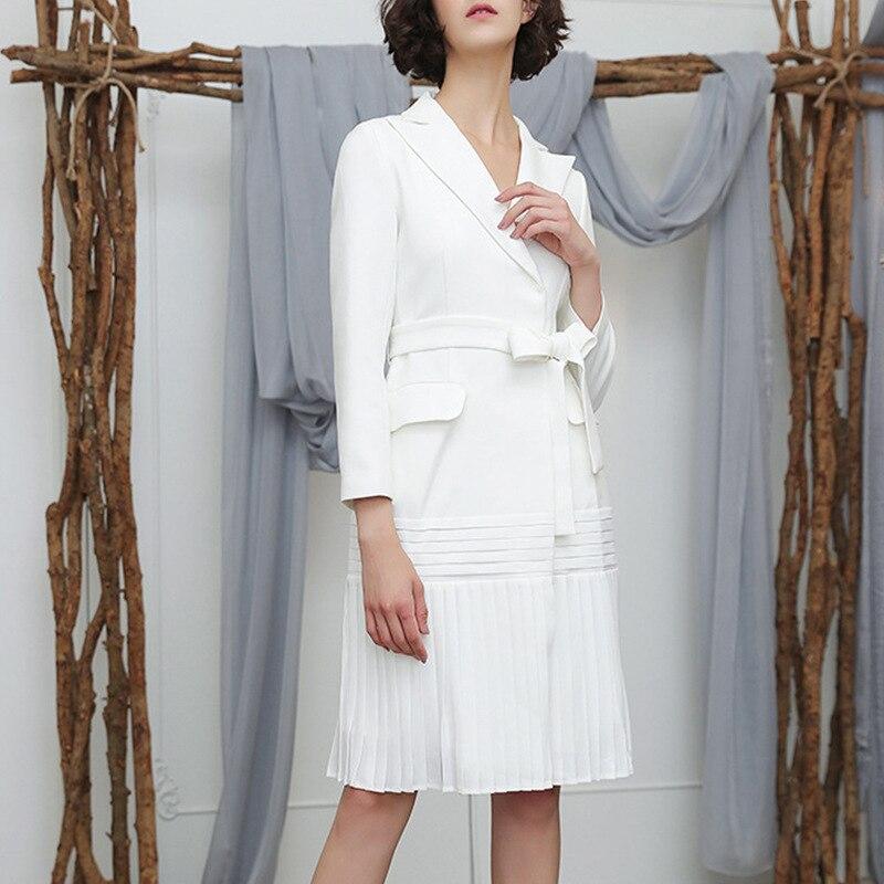Cakucool new 2019 Autumn Casual Long Sleeve White Lapel Cardigan   Trench   Pleated Hem Long Women Sashes Slim elegant   Trench   Coats