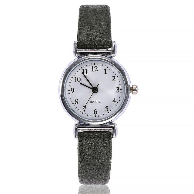 Small Dial Leather Band Analog Movement Wrist Watch 2