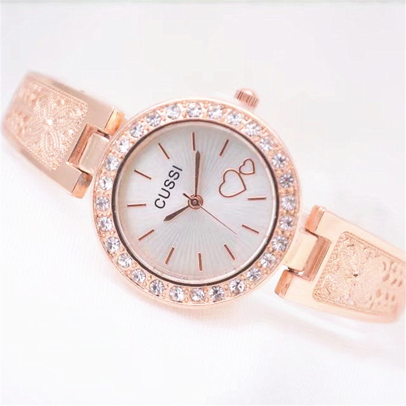 CUSSI 2018 Luxury Rose Gold Womens Bracelet Watches Quartz Wristwatches Ladies Dress Watches relogio feminino reloj mujer Gifts