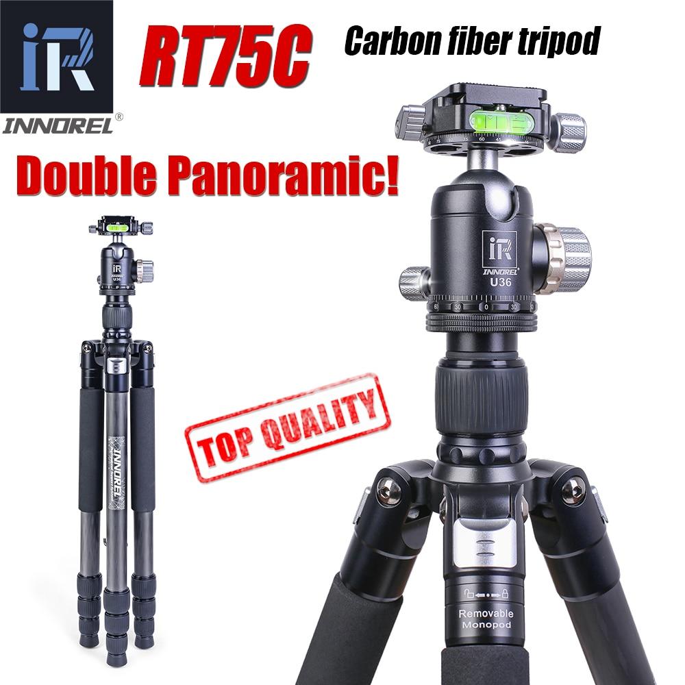 RT75C Super Carbon Fiber Professional Tripod For Digital DSLR Camera Heavy Duty Stand Support Double Panoramic Ballhead Monopod