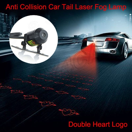 Car Auto Red Laser Fog Light Rear Anti-Collision Safety Taillight Warning Brake Parking Projector Lamp Logo Double Heart #5225 for chevy chevrolet lacetti matiz automotive anti rear fog light vehicle collision warning safety laser fog lights