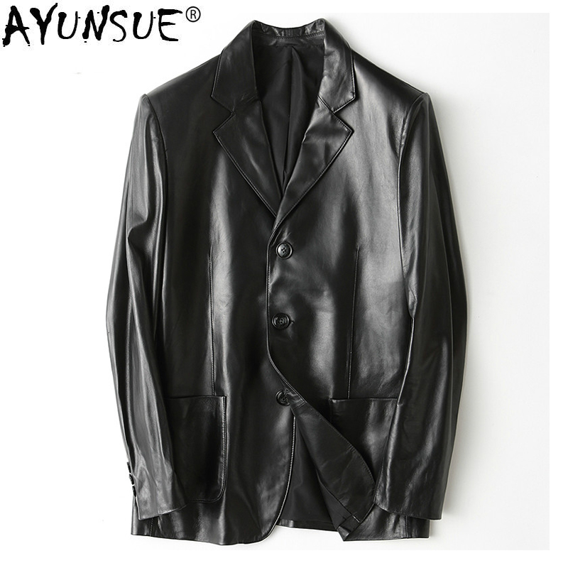 AYUNSUE Real Sheepskin Coat for Men Spring Genuine Leather Jacket Men Autumn Overcoat Blazer Leather Jackets Coats Male KJ1444
