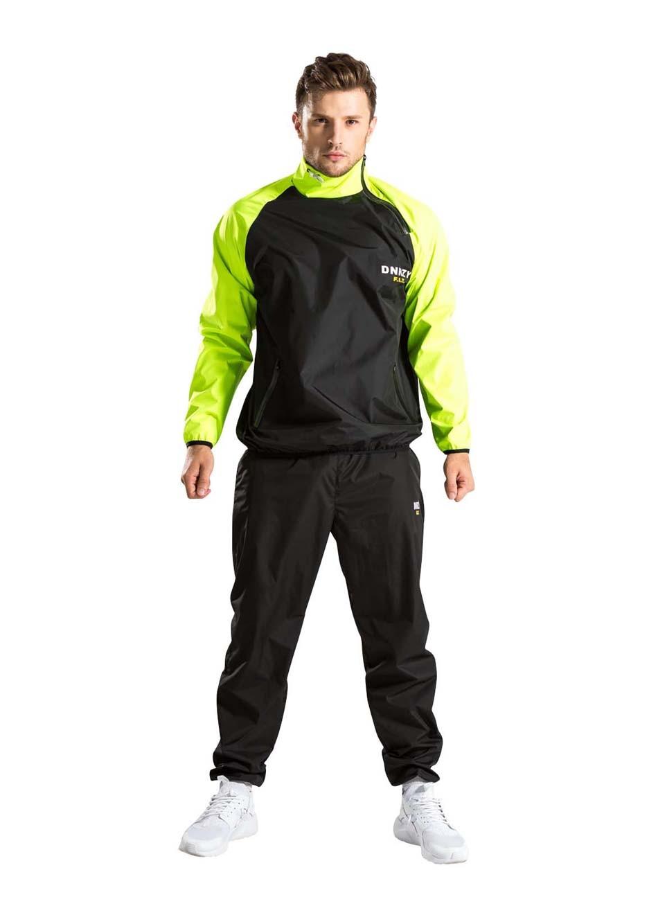 Bonverano Men's Sweat Sauna Suit Lose Weight Black Light Green