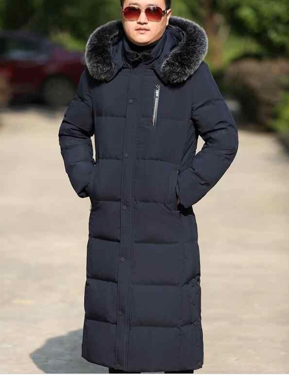 ロングメンズコート冬ロングダウンジャケットコートフード付き男性ダウンジャケットと毛皮トリムサイズ S-10XL 2018 新ファッション