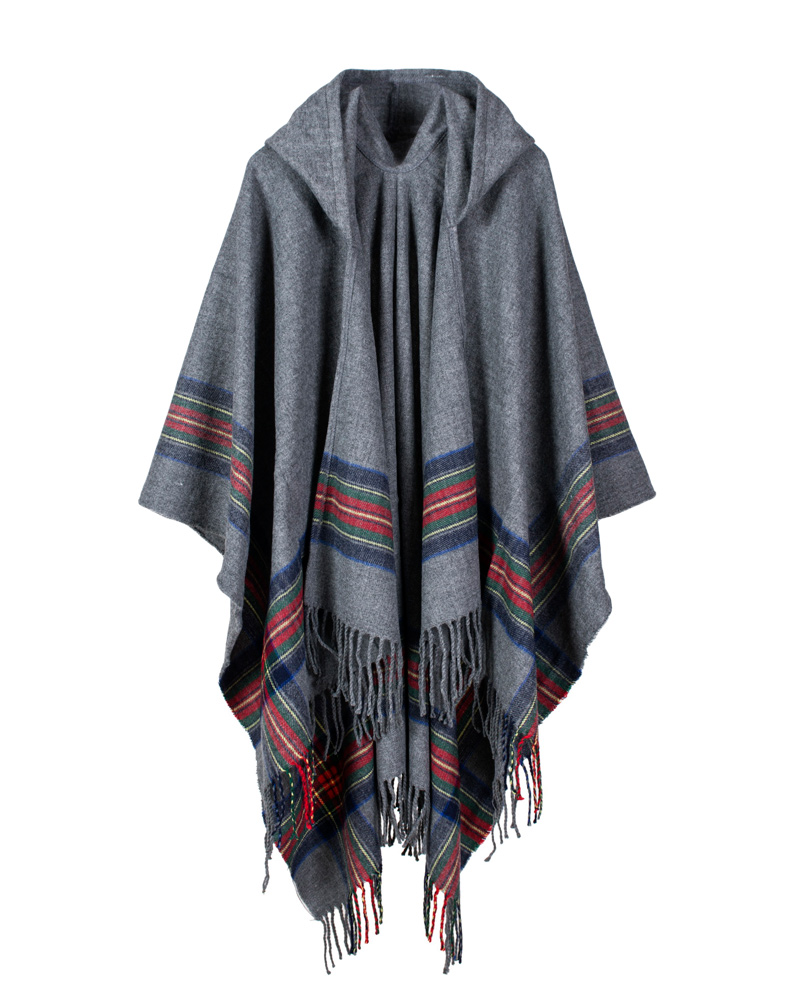 Womens Checked Knitted Winter Poncho Red Band Wrap Shawl Cape