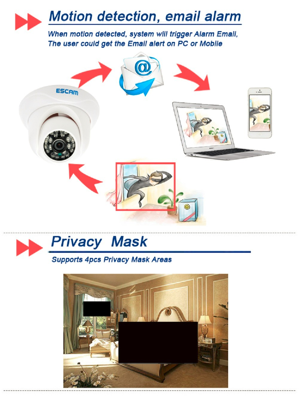 ESCAM Snail QD500 Waterproof Dome IP Camera CCTV 14 Inch 1MP CMOS 720P (4)