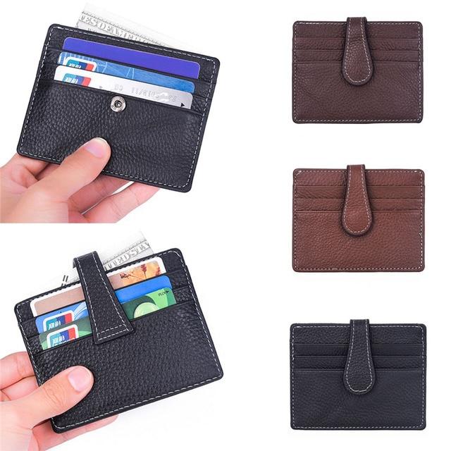 54bd2aa88aaf 2018 Men s Women s Leather Small ID Credit Card Wallet Holder Slim Pocket  Case  0